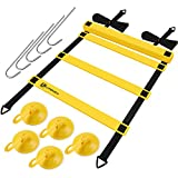 UPOWEX Agility Ladder Speed Training Ladders for Soccer&Football&Exercise with Carrying Bag, Speed Training Ladder in 8 Rungs with 5 Metal Stake Pegs & Suction Hooks - 4M