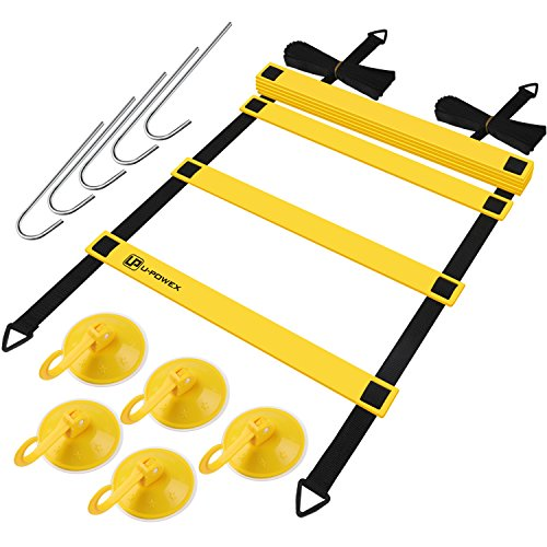 Speed Training Agility Ladder - Soccer & Fitness & Exercise & Sports Workout, U-POWEX 4M 8 Rungs Adjustable Training Ladder with Carrying Bag 5 Pegs 5 Hooks ()