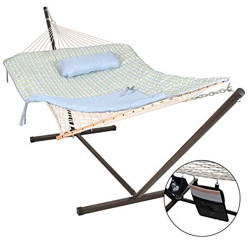 (Lazy Daze Hammocks 12 Feet Steel Hammock Stand with Cotton Rope Hammock Combo, Quilted Polyester Hammock Pad, Pillow, Mag Bag and Cup Holder, Zinger Peacock)