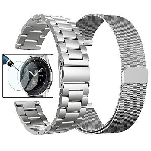 Valkit for Galaxy Watch (46mm) Bands, 2-Pack 22mm Stainless Steel Band + Milanese Loop Mesh Strap Replacement Metal Band Bracelet Sets, Compatible Samsung Galaxy Watch 46mm SM-R800 Smartwatch,Sliver