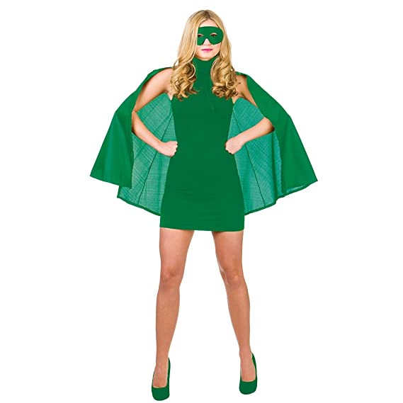 Super Hero Cape with mask - GREEN SUPERHERO LADIES FANCY DRESS ...