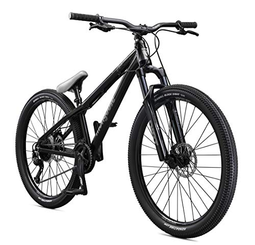 Mongoose Fireball Hardtail Mountain Bike with 26-Inch Wheels in Black, Tectonic T1 Aluminum Frame, 1x9 Drivetrain, and Mechanical Disc Brakes (Best Dirt Bike For Trail Riding 2019)