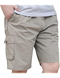 YGT Mens Loose Cotton Cargo Shorts Overall Elastic Waist Twill Pants