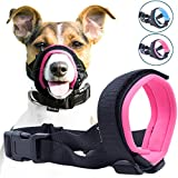 Gentle Muzzle Guard for Dogs - Prevents Biting and Unwanted Chewing Safely – New Secure Comfort Fit - Soft Neoprene Padding – No More Chafing – included Training Guide Helps Build Bonds with Pet (L, Pink)