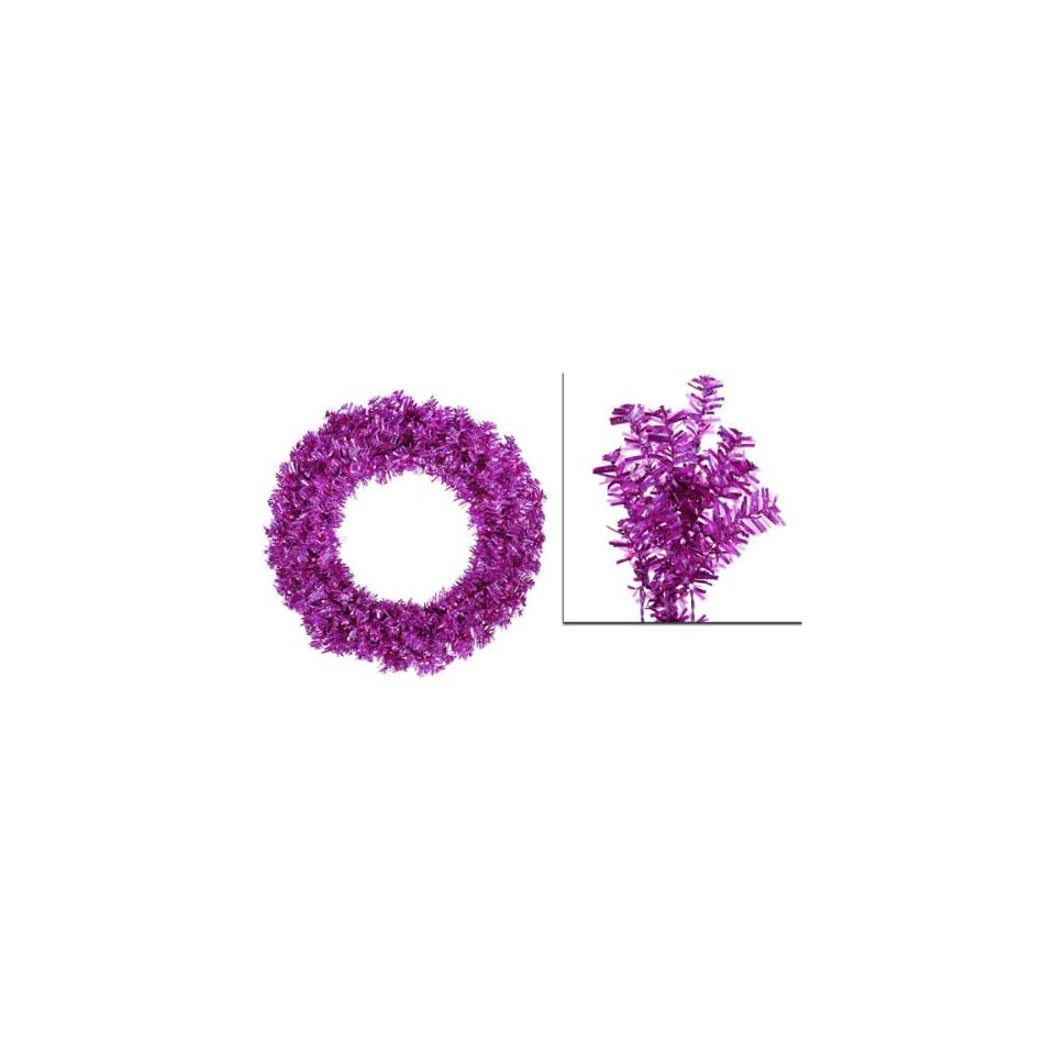 30 Pre Lit Fuschia Wide Cut Artificial Christmas Wreath   Purple Lights