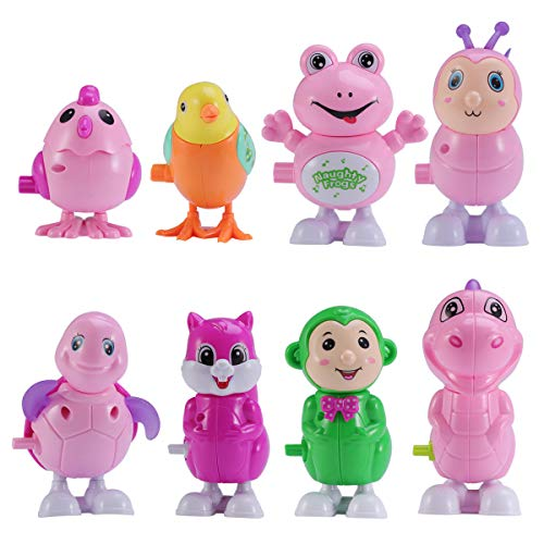 (Toyvian 8pcs Kids Classic Toy Wind Up Clockwork Toys Jumping Animal Toy Action Toy (Chicken + Monkey + Dinosaur + Bee + Squirrel + Frog + Little Turtle + Bird))