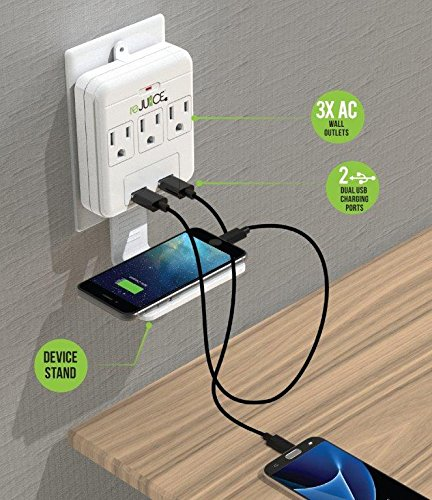 Rejuice Power Hub Multi Charging Ports Extreme Power Desk or Wall Versions (3 USB, 3 AC DESKTOP) by ReJuice