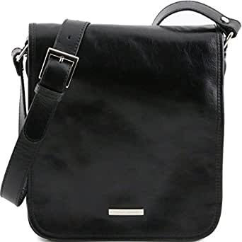 Tuscany Leather TL Messenger - Two compartments leather shoulder bag Black Leather briefcases