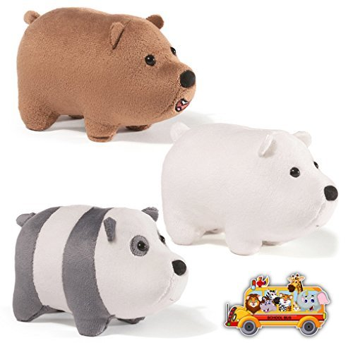 Gund We Bare Bears Mini Stackable Plush Bears: Ice, Panda, Grizz, with School Bus Sticker (Gund Panda Bear)