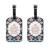 Set of 2 Luggage Tags Africa Art Paisley Suitcase Labels Travel Accessories