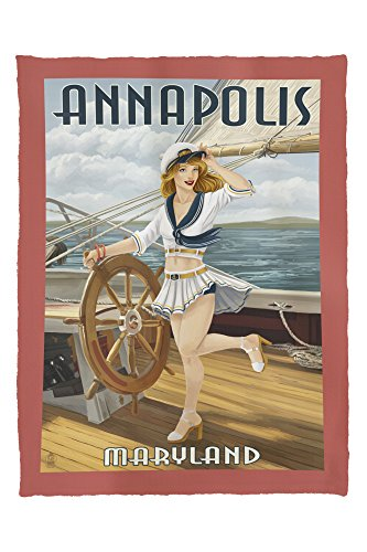 Annapolis, Maryland - Pinup Girl Sailing (60x80 Poly Fleece Thick Plush - Stores Annapolis