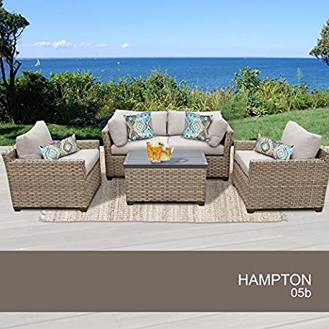 Hampton 5 Piece Outdoor Wicker Patio Furniture Set 05b - Classic Spring Club Chair Frame