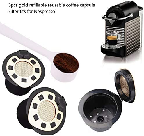 3pcs Household Refillable Reusable Coffee Capsule Filters for Nespresso Machine