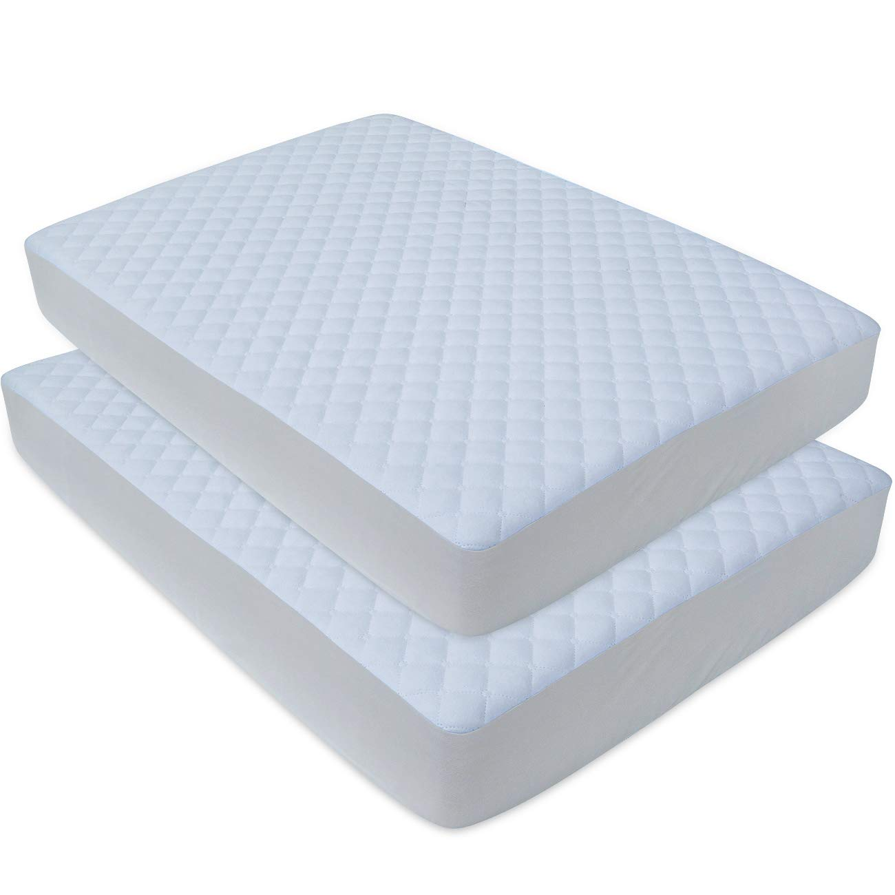 BlueSnail Waterproof Quilted Pack N Play Mattress Cover - Fits All Baby Portable Mini Cribs, Play Yards and Foldable Mattresses (2 Pack White)