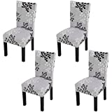 YISUN Modern Stretch Dining Chair Covers Removable Washable Spandex Slipcovers for High Chairs 4/6 PCs Chair Protective Covers (Grey/Leaf Pattern, 4 PCS)