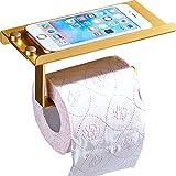 Q&F Wall Mount Toilet Paper Holder,Tissue Holder With Mobile Phone Storage Shelf-retro, Strong Bearing Capacity,Aluminium-Golden