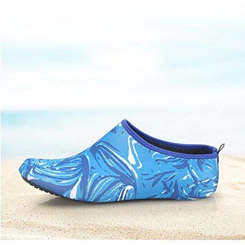 KEERADS Aquaschuhe Schuhe Damen Barfuß Schwimmschuhe Wasserschuhe Strandschuhe Blau Sportschuhe Yogaschuhe Badeschuhe rprxq4gC