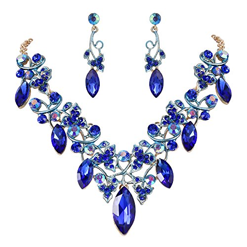 BriLove Women's Bohemian Boho Crystal Floral Vine Leaf Statement Necklace Dangle Earrings Set Royal Blue Gold-Tone (Blue Necklace Set Royal)
