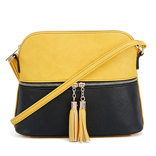 SG SUGU Lightweight Medium Dome Crossbody Bag with Tassel | Zipper Pocket | Adjustable Strap (Yellow/Black) ()
