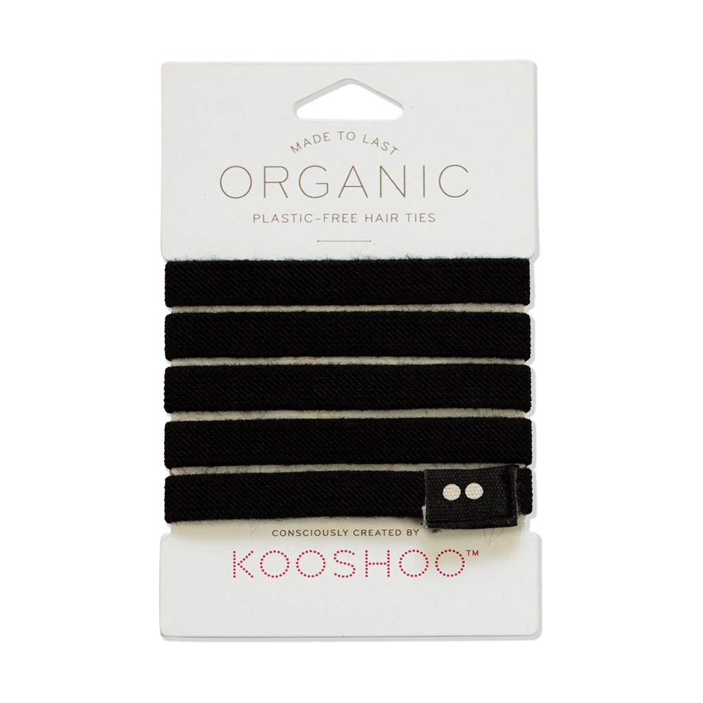 PLASTIC-FREE ORGANIC HAIR TIES in BLACK | Biodegradable Hair Ties that Don't Slip, Pull or Cause Headaches. Ethically Made in USA.