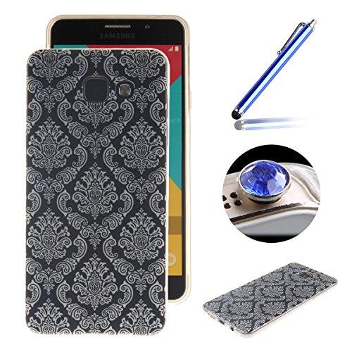 Etsue Caso para Samsung Galaxy A5(2016),Funda de silicona TPU Negro patrón de la caja ultrafina para Samsung Galaxy A5(2016),Suave diáfano de colores patrón para Samsung Galaxy A5(2016) + Gratis 1 x B negro de la flor