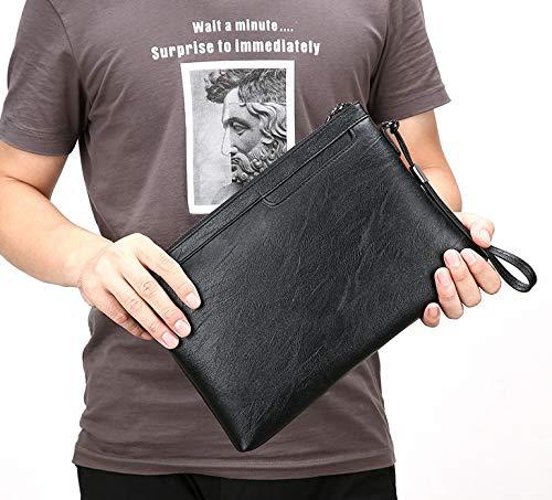 Gran para Bolso de de Hombres Tarjeta de ZHRUI Cuero la Embrague Embrague de Impermeable Multifuncional Negro Bolsa de Bolso Impermeable Capacidad qnzAvw7X