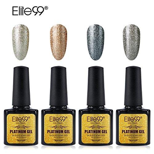 Elite99 Platinum Gel Nail Polish Set Soak Off UV LED Nail Lacquers Shiny Manicure Nail Art Glitter Varnish 10ML