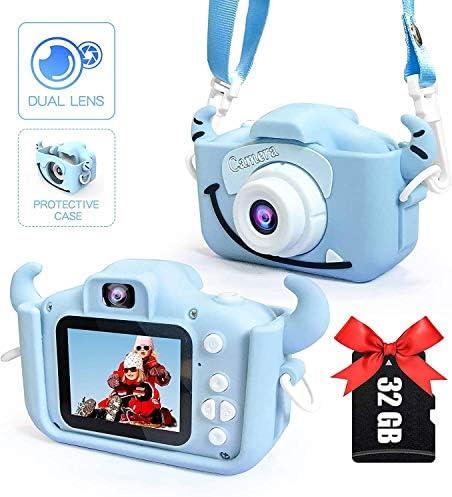 32ギガバイトのメモリカード付属 - 少年少女のためのキッズカメラ、デジタルデュアルカメラ2.0インチは20.0MPビデオカメラアンチドロップ子供画面