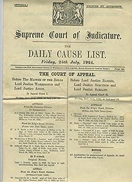 Amazon com : 1924 Supreme Court of Judicature Daily Cause List