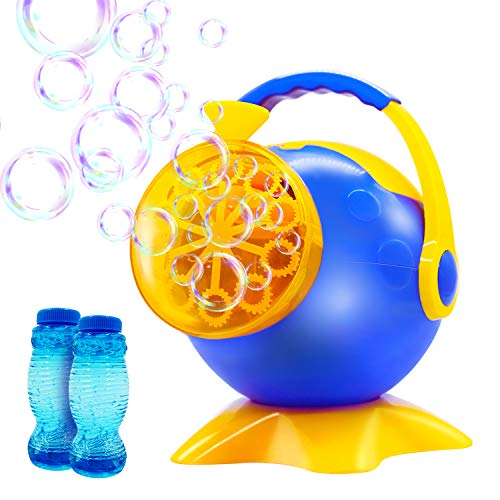 YAHO Bubble Machine, Automatic Bubble Blower Durable Bubble Maker with 2 Bottles of Bubbles Solution Refill, Powered by Plug-in or Batteries, Over 800 Colorful Bubbles Per Min, Simple and Easy to Use -