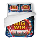 SanChic Duvet Cover Set Blue Machine Big Win Slots 777 Casino Gambling Poker Winner Game Decorative Bedding Set 2 Pillow Shams King Size