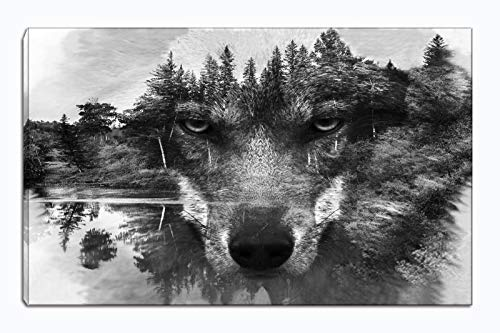 Wolf Canvas Wall Art Animal Paintings Picture Black and White Prints Artwork Ready to Hang for Living Room Bedroom Bathroom Home Decorations Single Panel ()