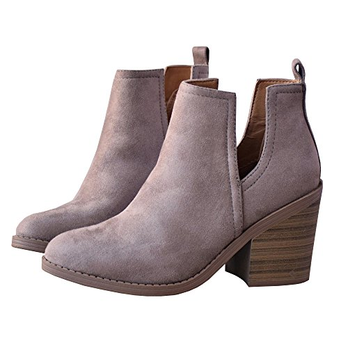 Slip Low Toe Out Booties Heel Western Ankle Side On Purple Casual Womens Nulibenna Pointed Cut qwRnzIFxa