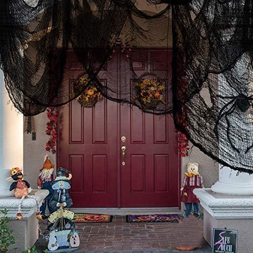 Yolyoo 6Pcs Halloween Creepy Cloth 30x84 Spooky Halloween Hanging Decorations Scary Gauze Cloth Doorways for Halloween Decorations Outdoor Yard Home Wall Decor