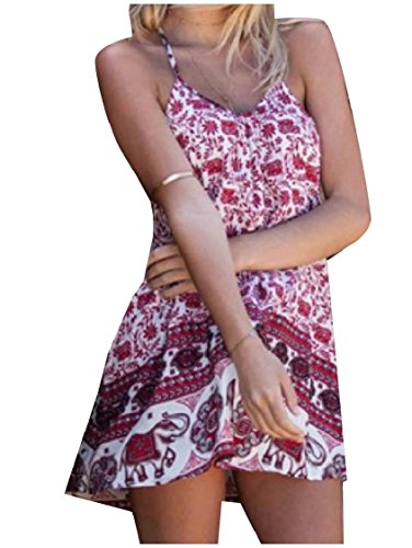 Dress Printed Women Comfort Coolred Backless Flower Red Sling Short Beach qBRwwxf