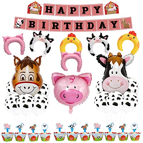 (KREATWOW Farm Animal Party Decorations Supplies Farm Animal Balloons Happy Birthday Banner Cupcake Toppers Wrappers for Kids Barnyard Birthday )
