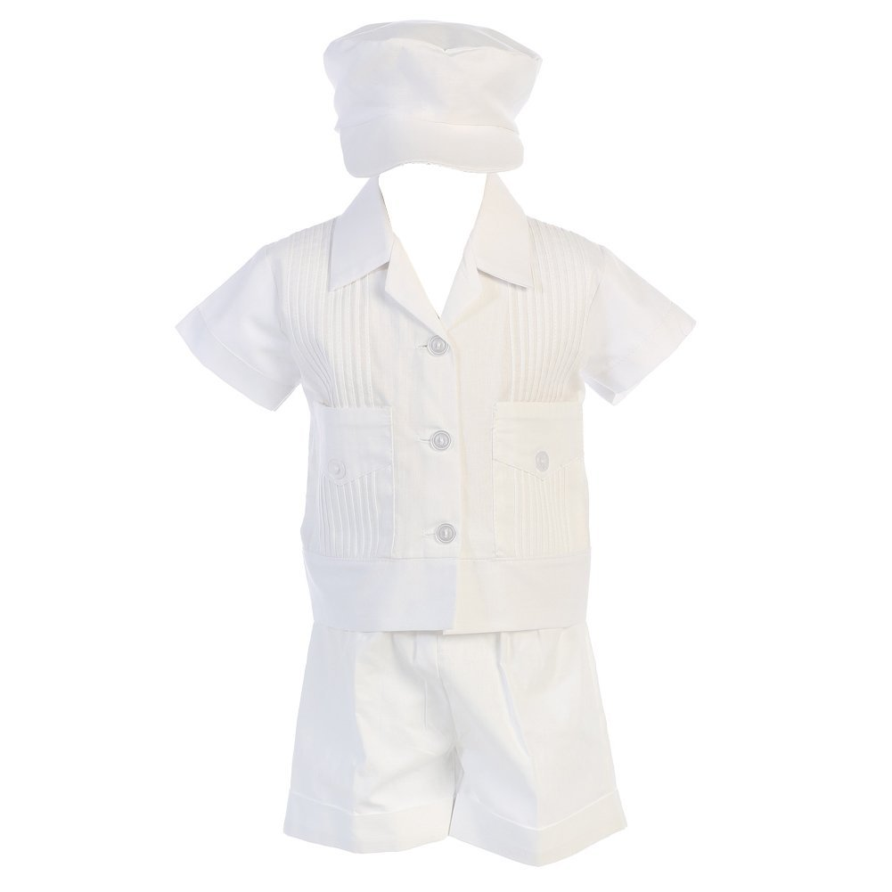 Lito Baby Boys White Shantung Striped Organza Vest Shorts Baptism Set 0-24M