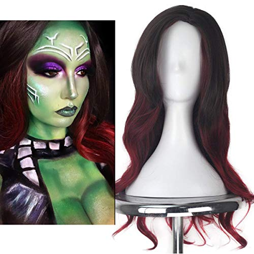 Morvally Womens Long Wavy Two Tone Ombre Brown Dark Red Color Synthetic Wig for Cosplay Costume Halloween Party Wigs
