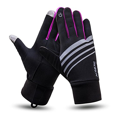 Outdoor Winter Cycling Sport Gloves Elements Touchscreen Thermal Glove Liners Lightweight Best For Running, Driving Warm Hand Gloves For Smart Phone Pink S/M