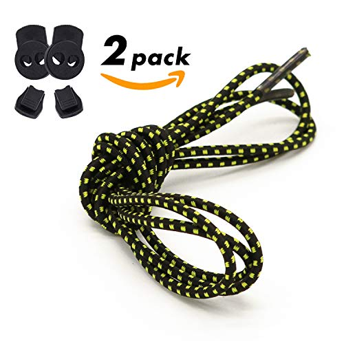 UNIKOS Elastic Shoe Laces for Sneaker No Tie Shoelaces for Kids and Adults Marathon Running Working Shoe Hiking Boots Laces (Black Yellow. Black, Pack of 2)