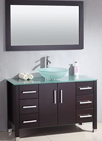 48 Inch Wood Glass Single Vessel Sink Bathroom Vanity Set Quot Shelby Quot