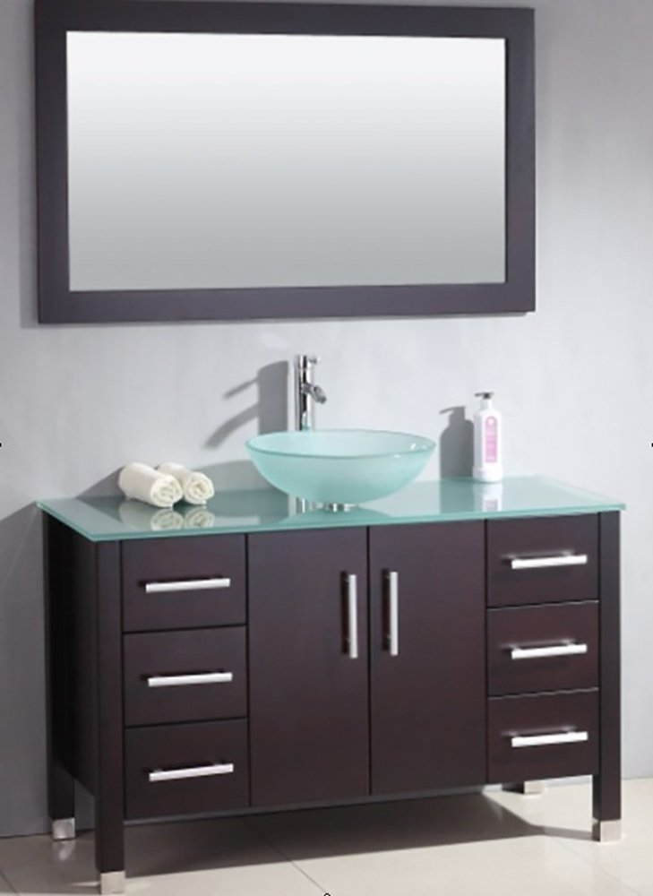 48 Inch Wood & Glass Single Vessel Sink Bathroom Vanity Set- ''Shelby'' (Chrome Faucet) by The Tub Connection