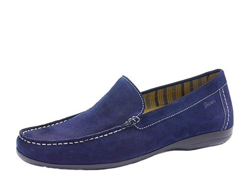 Sioux - Mocasines de ante para hombre, color azul, talla 11.5: Amazon.es: Zapatos y complementos