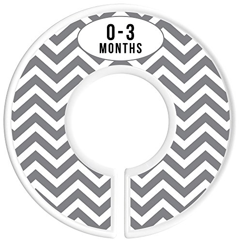 Delicush Baby Closet Dividers, Stripe, Chevron, Set of 6 Size Organizers, Nursery Closet Organizers, Baby Size Dividers, Glossy Finish, Boy, Girl (Grey) by DELICUSH (Image #2)