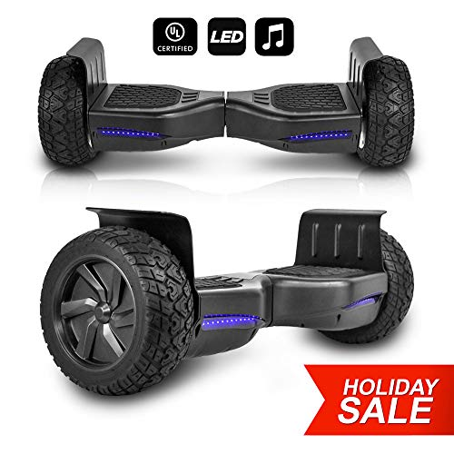 CHO All Terrain Black Rugged 8.5' Inch Wheels Hoverboard Off-Road Smart Self Balancing Electric Scooter LED Lights UL2272 Certified (Black)