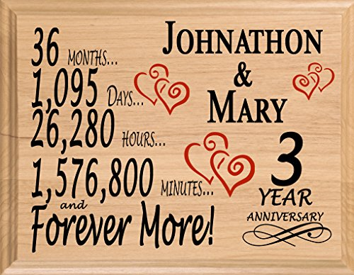 Broad Bay 3 Year Personalized 3rd Anniversary Wedding Gift for Wife Husband Couple Him Her