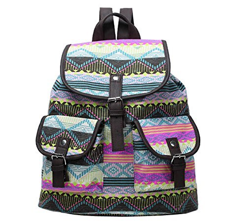 Guoqueen Unisex Canvas Diamond Ripple Stripe Pattern Backpack School College Laptop Bag For Teens Girls Boys Students, 3 Grimbatol