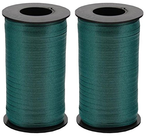Lime Green Curling Ribbon - 2-Pack - Berwick Splendorette CrimpedCurling Ribbon, 3/16-Inch Wide by 500-Yard Spool, Hunter Green