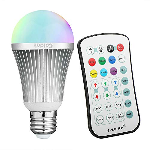 Coidak E26 RGBW LED Color Changing Light Bulb with 2.4GHz RF Wireless Remote Controll (Not IR), Pure White, Dimmable A19 Lamp