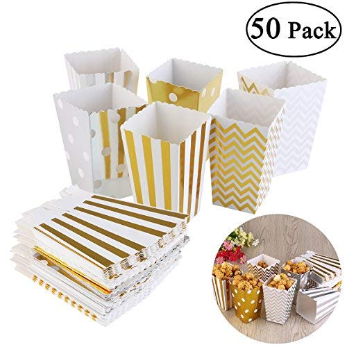 TOYMYTOY 50pcs Popcorn Boxes Gold Design Cardboard Party Candy Container (Random Color) ()